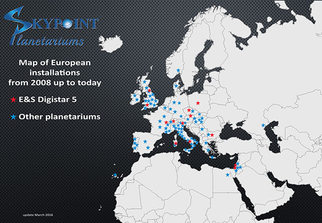 Skypoint Planetariums installations around Europe as of March, 2016