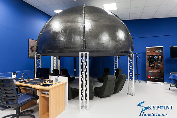 "Our demonstration room equipped with a E&S Digistar 5 digital planetarium system, composite Skypoint ""Tecno Dome"" and Dolby Digital Sourround audio system for the most immersive experience possible."