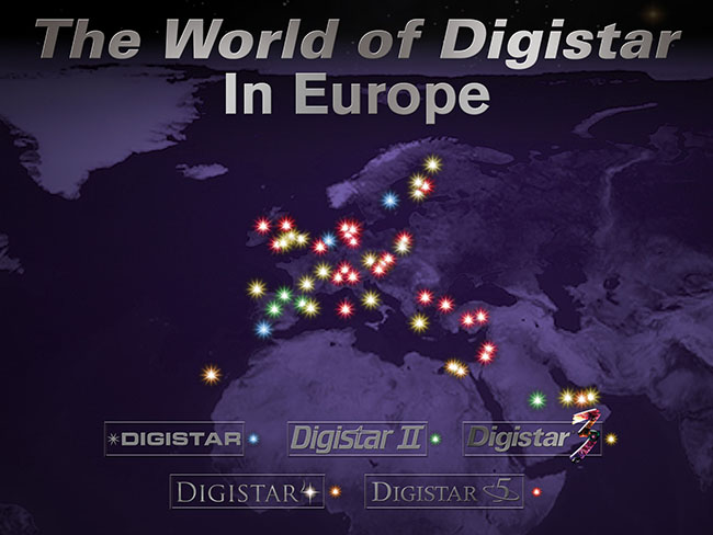 Map of currently active Digistar  installations in Europe